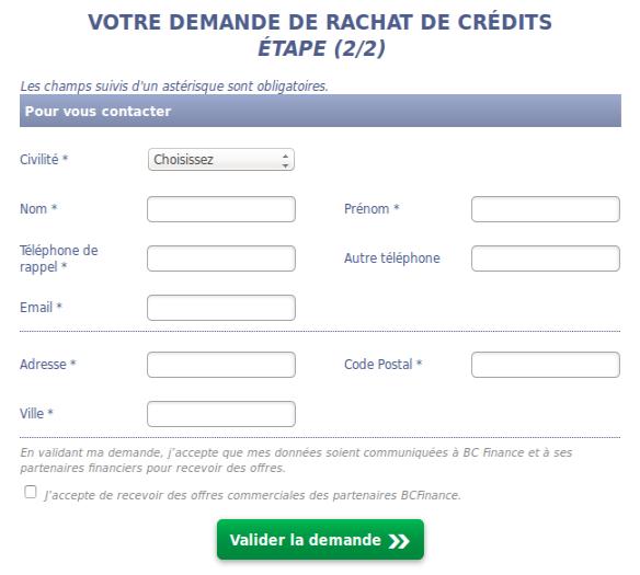 validation demande rachats credits